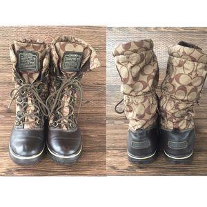 COACH Shaine khaki nylon water proof winter boots